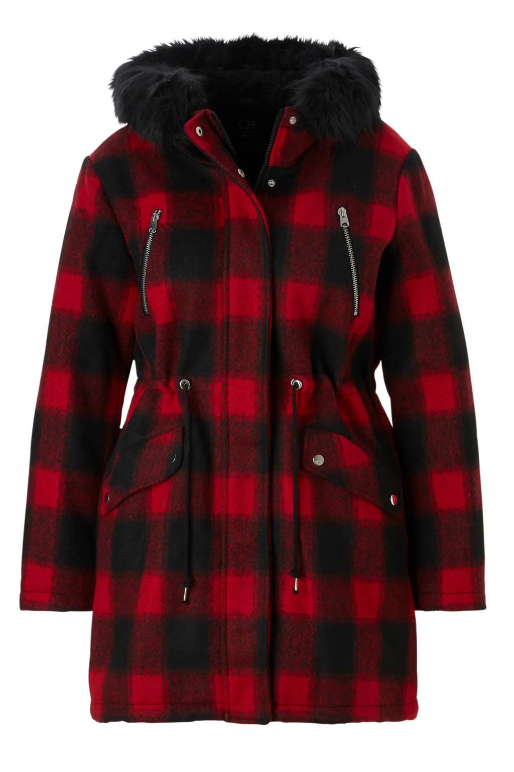 C&A XL Clockhouse geruite coat rood, Rood/zwart