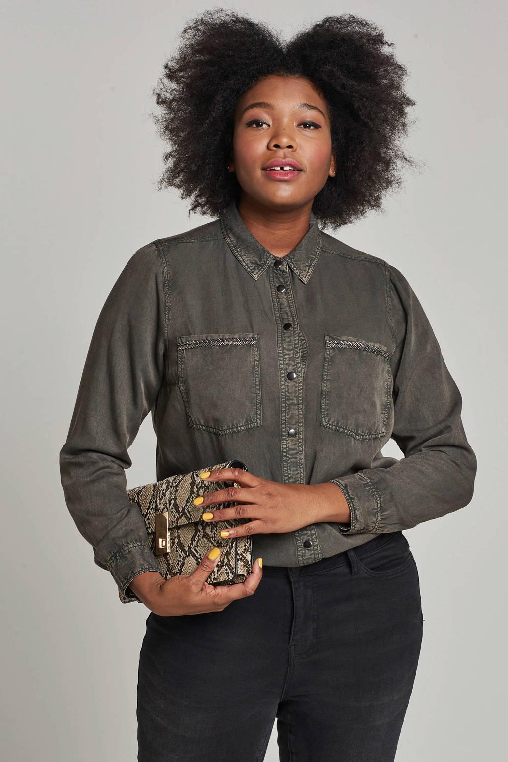 whkmp's great looks blouse met kraaltjes donkergroen, Donkergroen