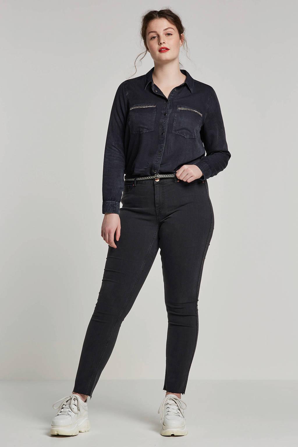 whkmp's great looks blouse met kraaltjes, Donkerblauw