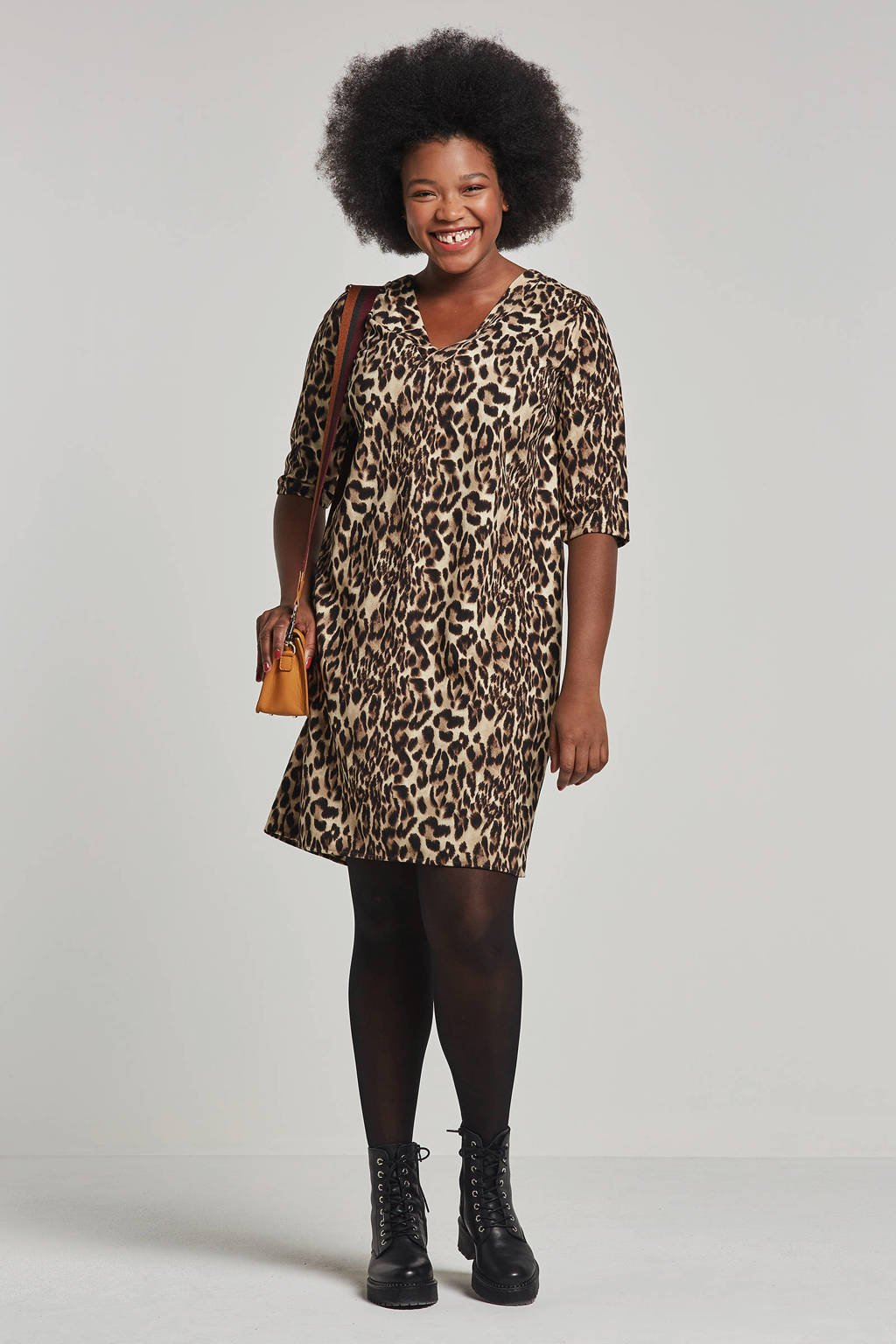 whkmp's great looks jersey jurk met dierenprint camel/bruin/zwart, Camel/bruin/zwart