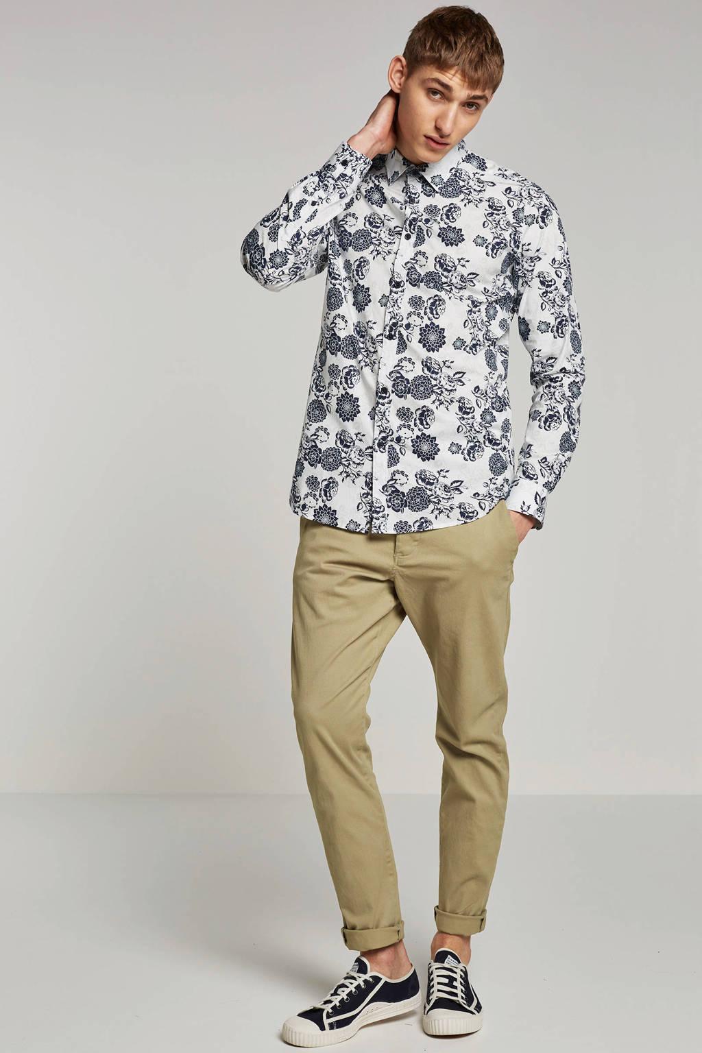Dstrezzed overhemd, Wit/blauw