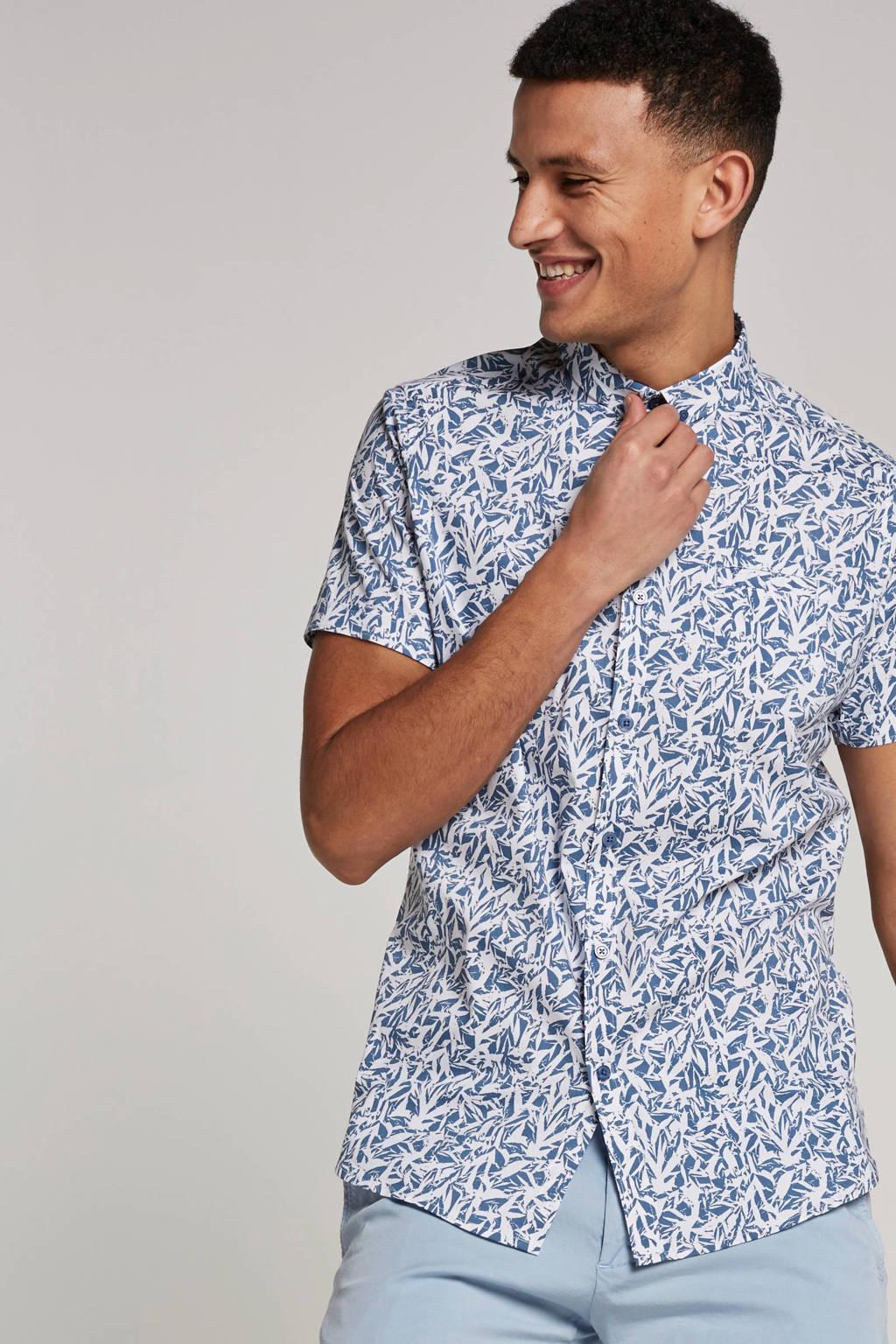 Dstrezzed overhemd korte mouw, Wit/blauw