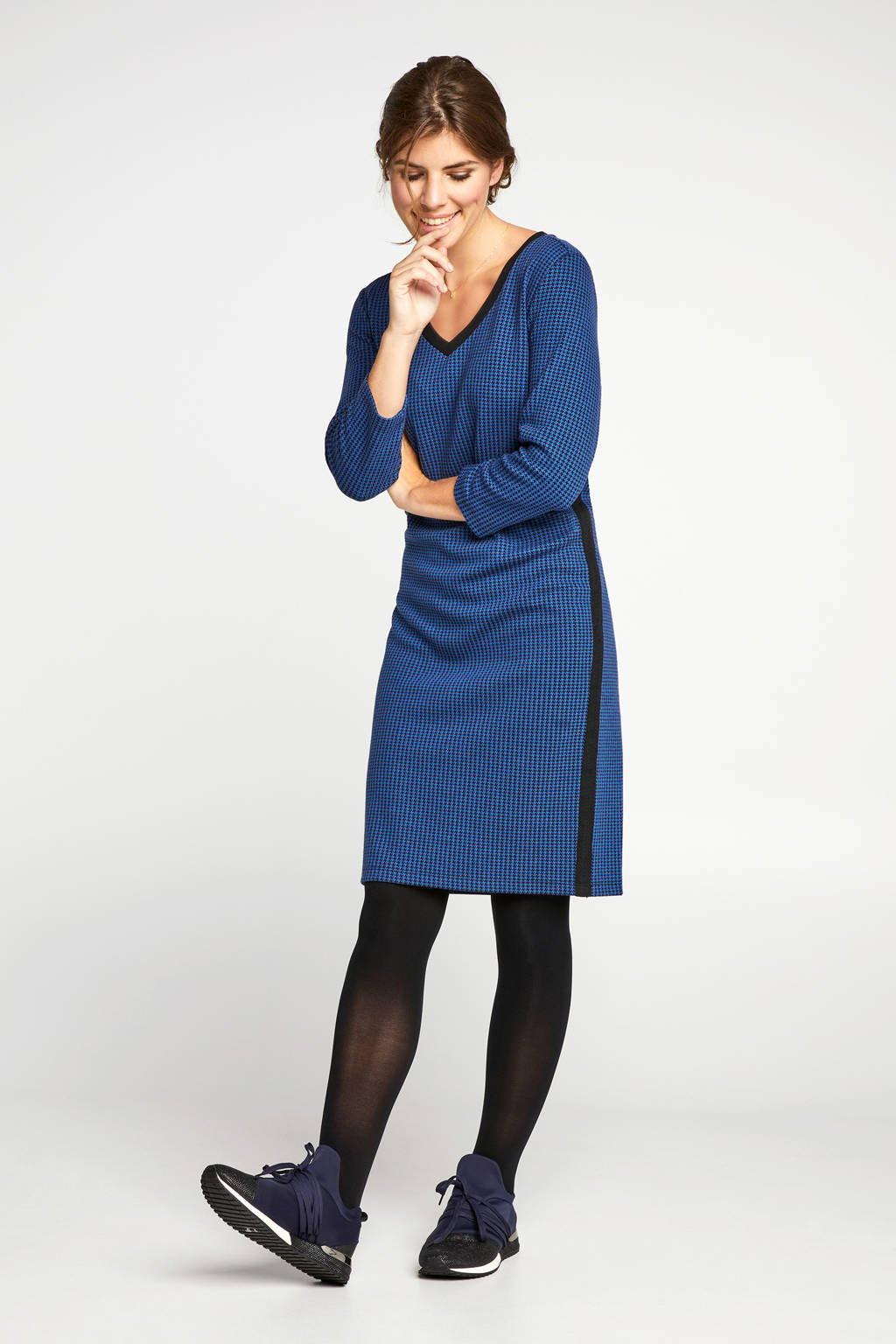 Miss Etam Regulier jersey jurk met pied-de-poule blauw, Blauw