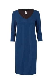 Regulier pied de poule jurk blauw