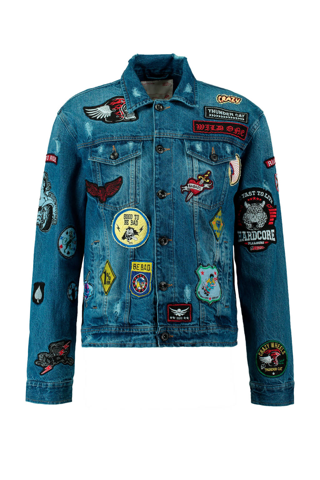 CoolCat spijkerjas met patches, Light denim
