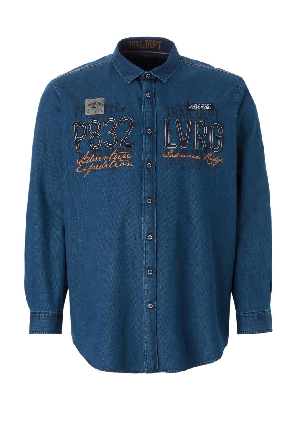 C&A XL Canda denim overhemd met tekstopdruk blauw, Blauw