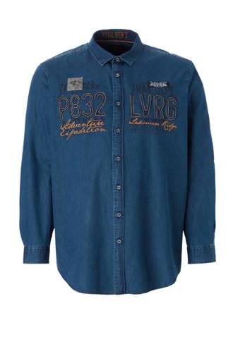 XL Canda denim overhemd met tekstopdruk blauw