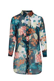 Belloya blouse met bloemenprint petrol (dames)