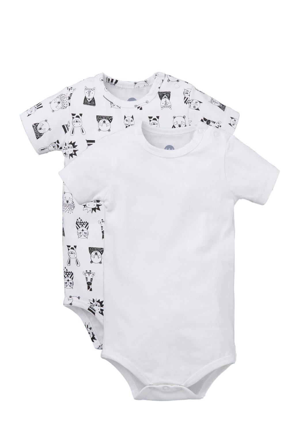 whkmp's own beasty newborn baby rompers - set van 2, wit/ zwart
