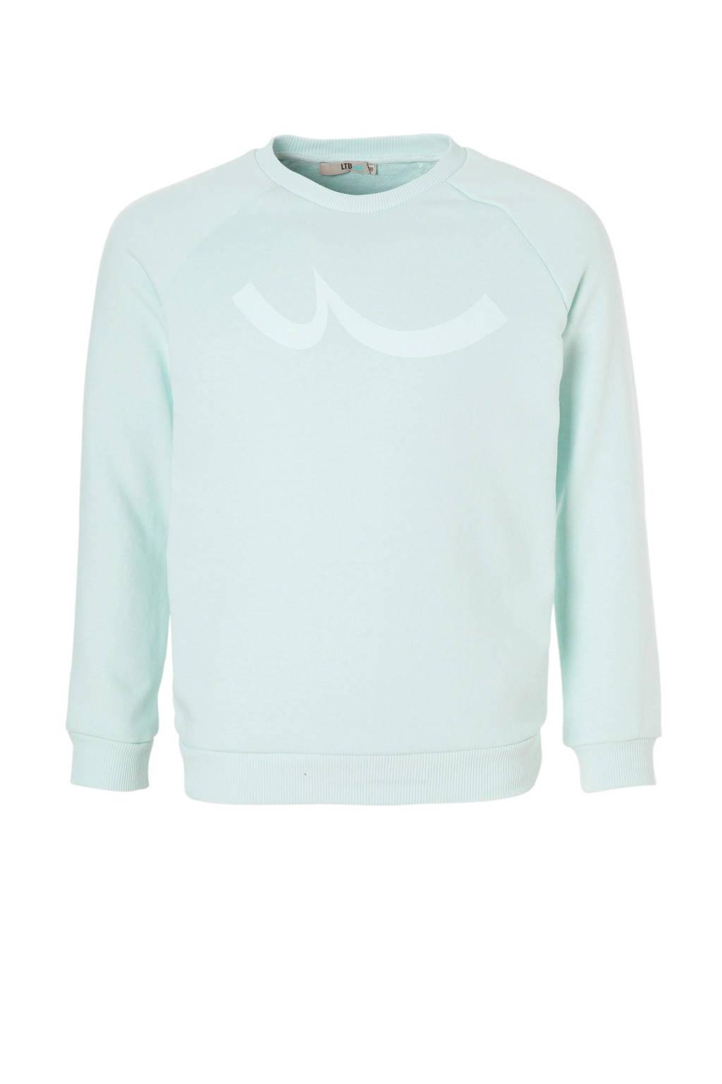 LTB sweater Pizado met print lichtblauw, Lichtblauw