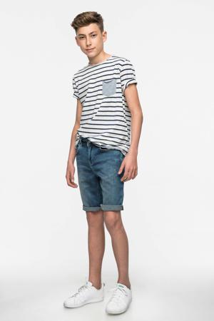 slim fit jeans bermuda Corvin met slijtage