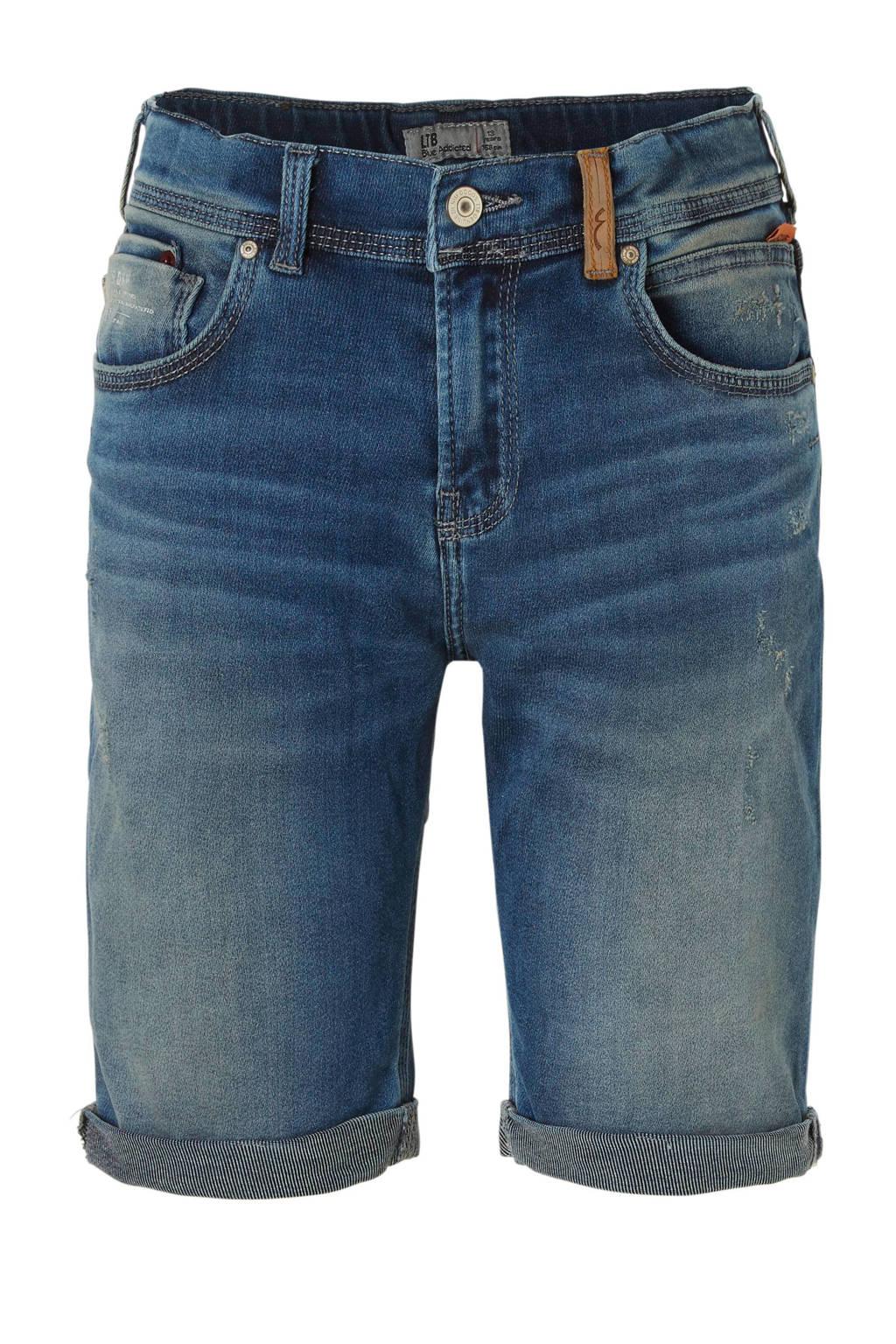 LTB slim fit jeans bermuda Corvin met slijtage, Blauw (Darnell X Wash)