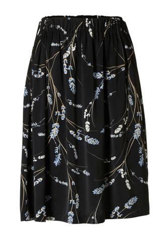 gebloemde rok zwart