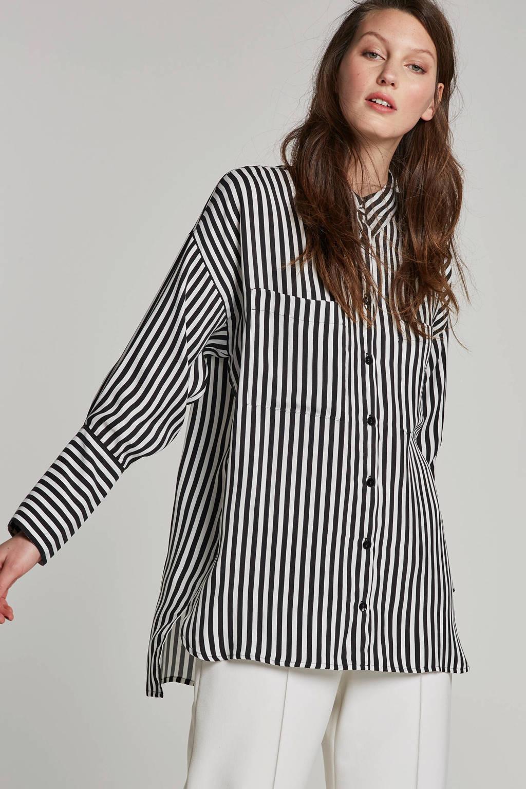 Summum Woman gestreepte oversize blouse, Zwart/wit