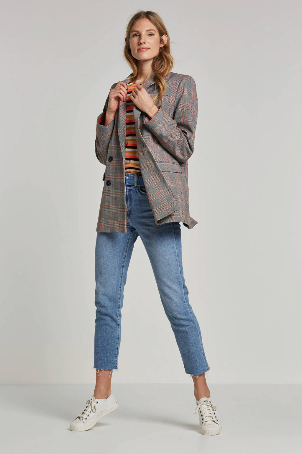 Summum Woman geruite blazer grijs/oranje/zwart, Grijs/oranje/zwart