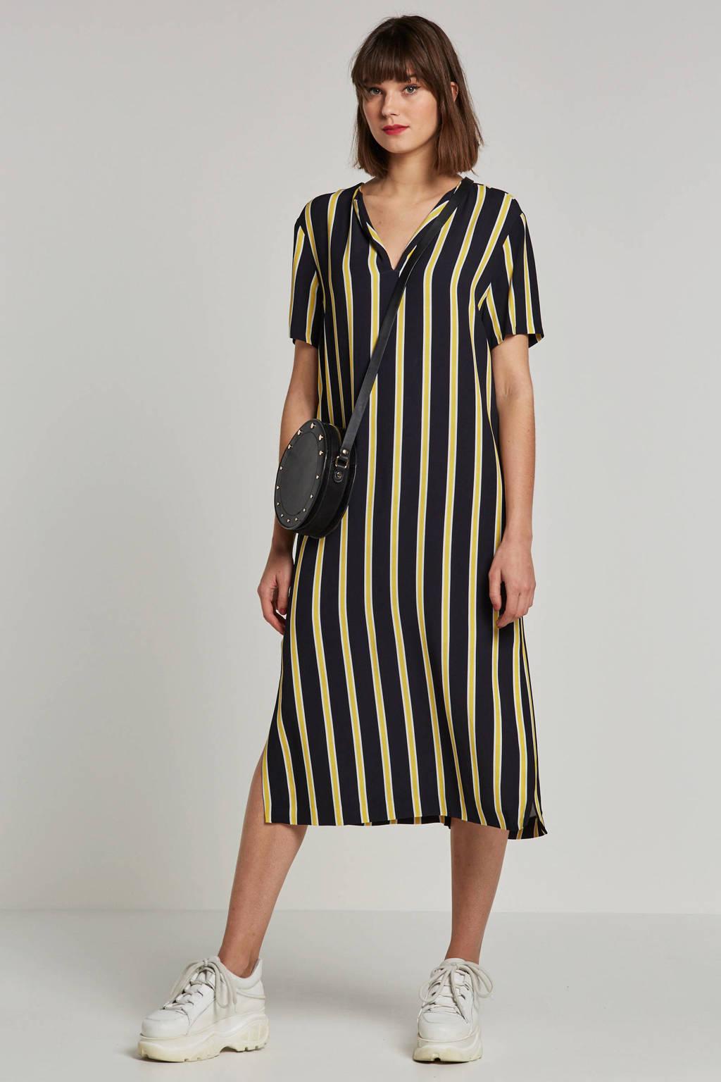 Summum Woman gestreepte jurk zwart, Zwart/geel/wit