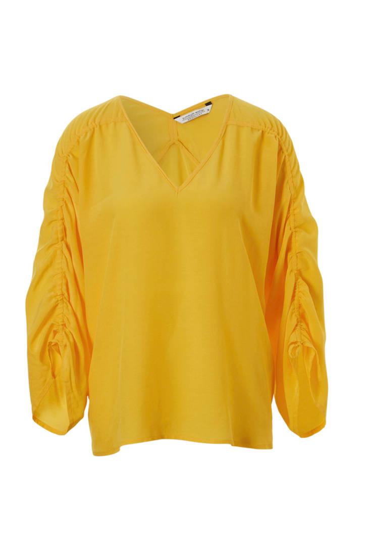 gerimpelde met geel Woman Summum top mouwen TxAEwq