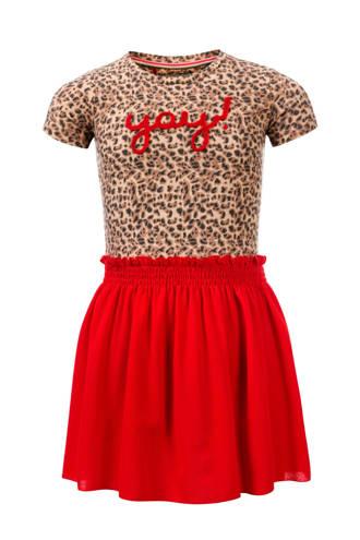 Little jurk met panterprint en tekst rood