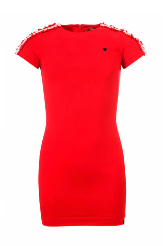Little jurk met contrastbies rood