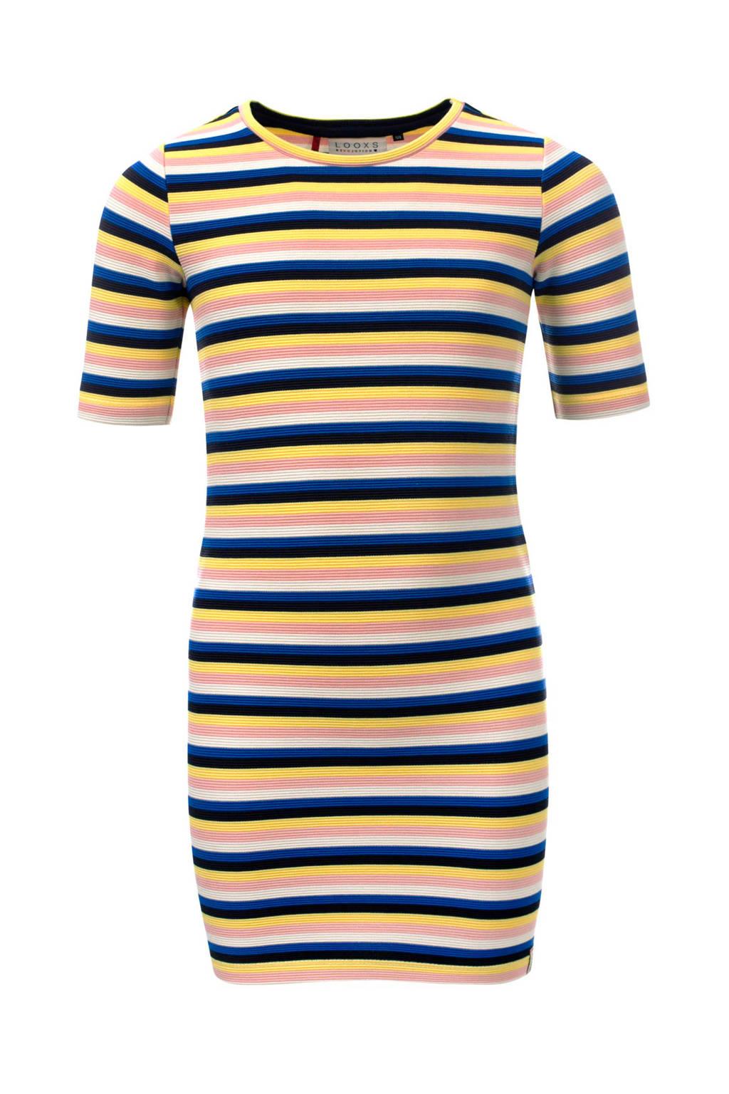 LOOXS gestreepte jurk multi colour, Geel/ multi colour