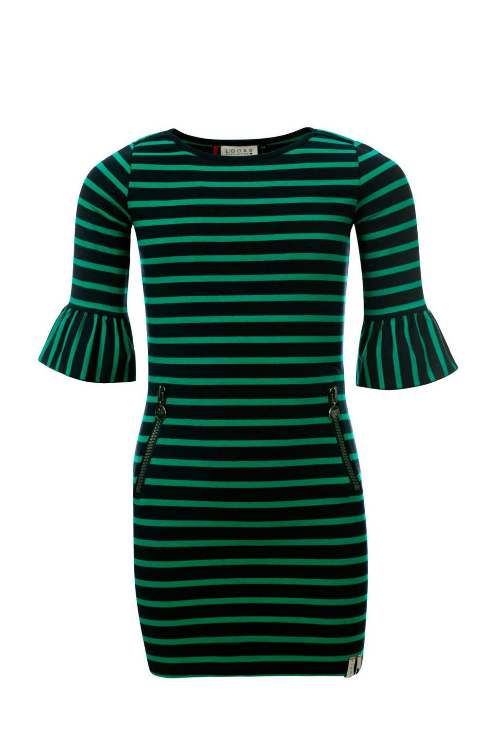 LOOXS gestreepte jurk met trompetmouwen groen, Groen/donkerblauw