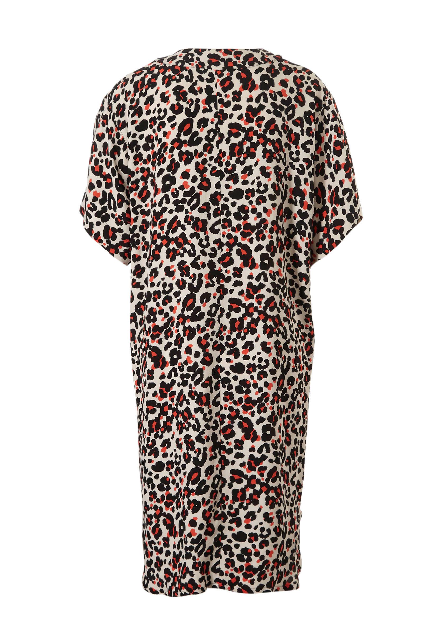 Woman panterprint wit jurk met Summum aHvUOH