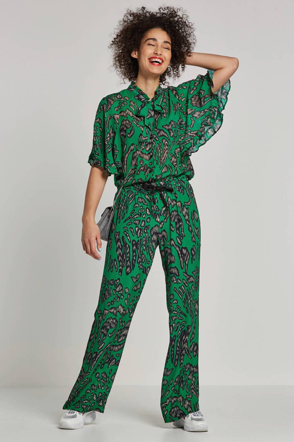 Summum Woman broek met all over print groen, Groen