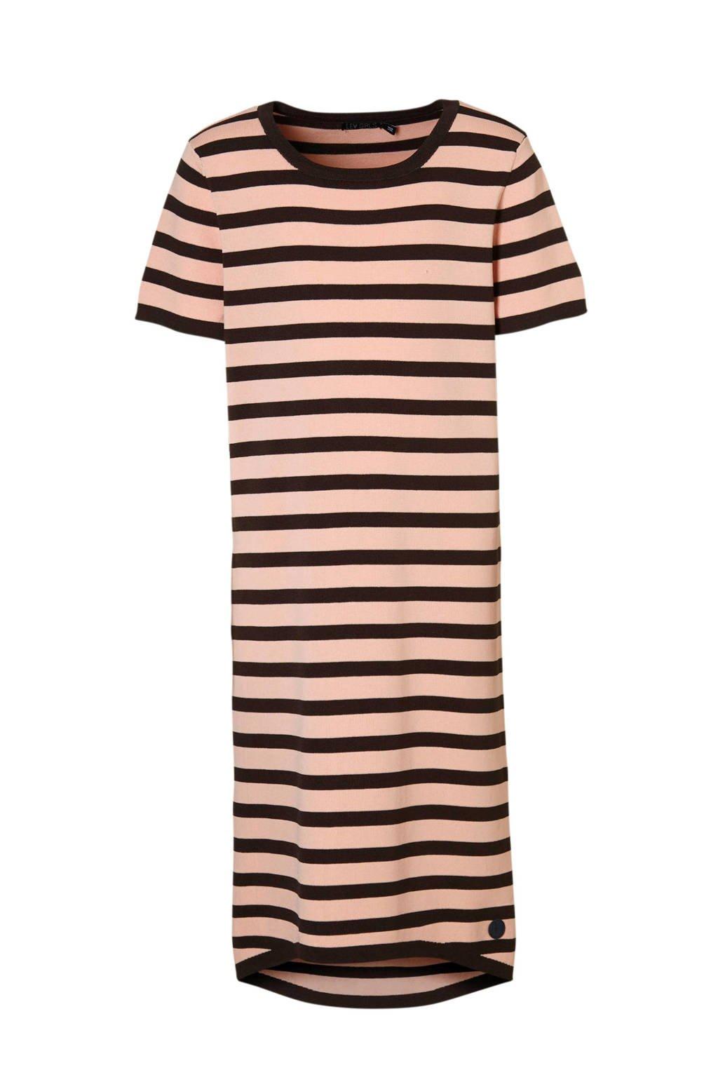 LEVV gestreepte jurk Berta oudroze, Oudroze/bruin