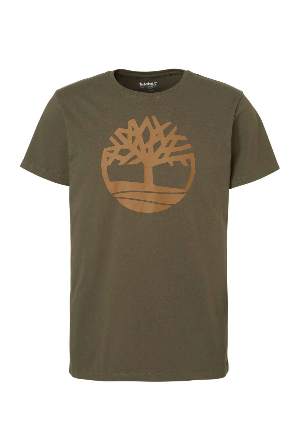 Timberland T-shirt met print groen, Kaki/groen