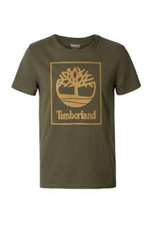 T-shirt met print kaki
