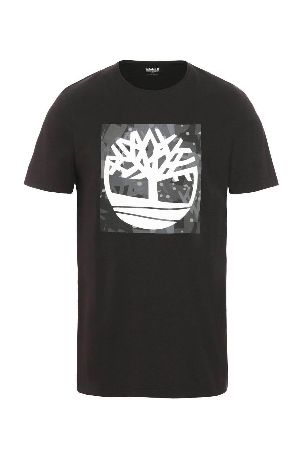 Timberland T-shirt met logo zwart, Zwart