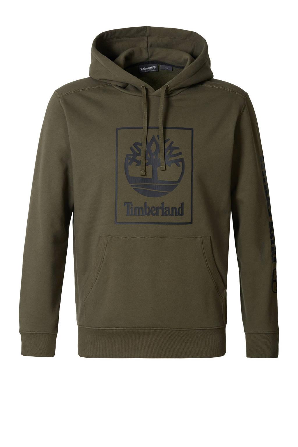 Timberland hoodie met logo donkergroen, Donkergroen