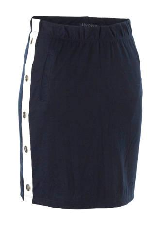 rok met zijbies en studs donkerblauw