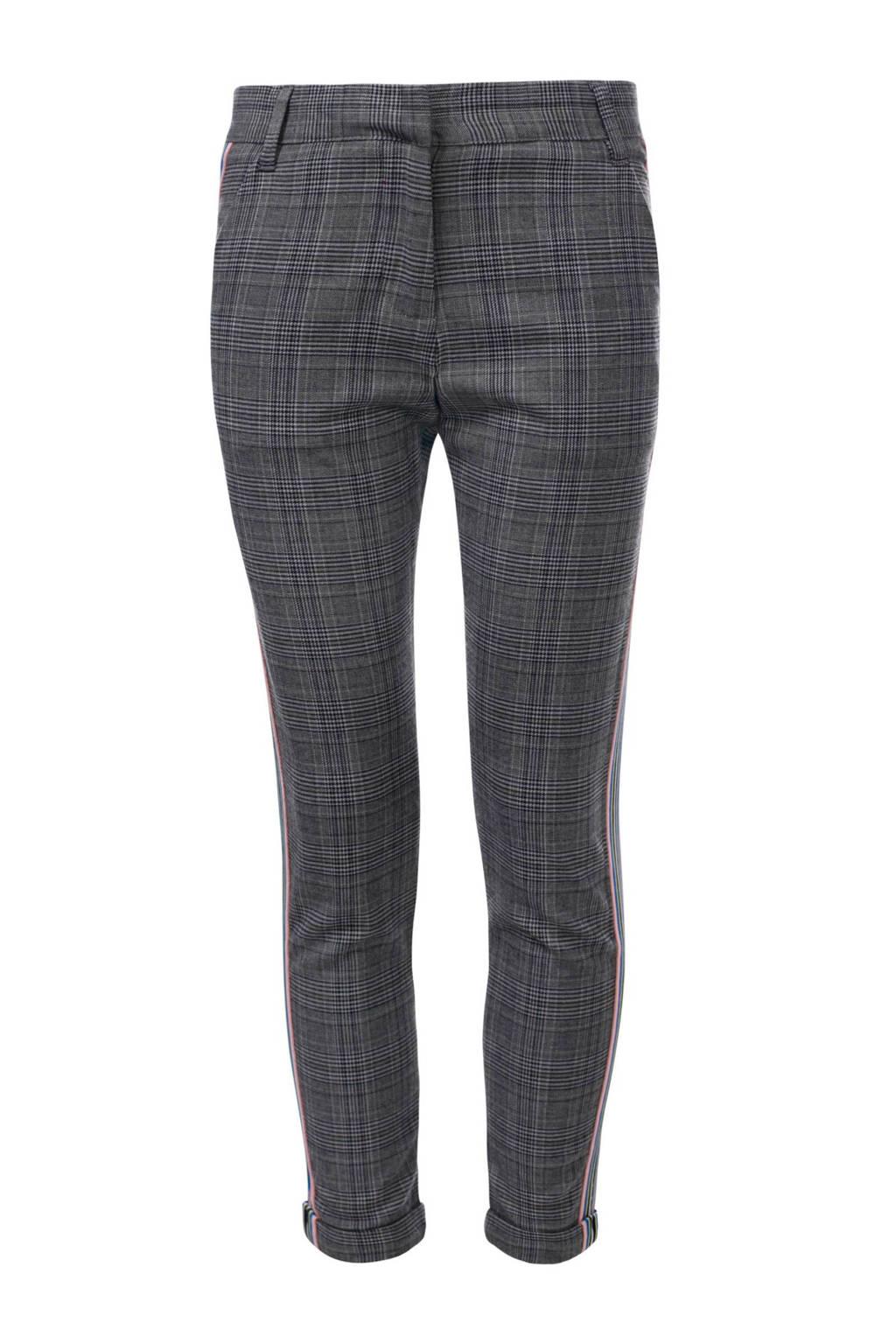 LOOXS geruite broek met zijbies grijs, Grijs/blauw