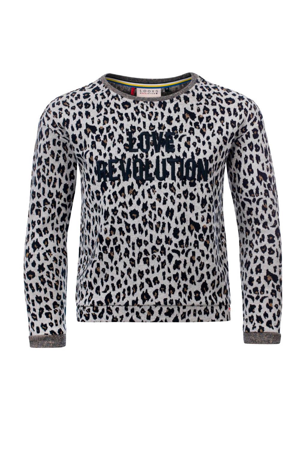 LOOXS sweater met panterprint en tekst grijs, Grijs/zwart
