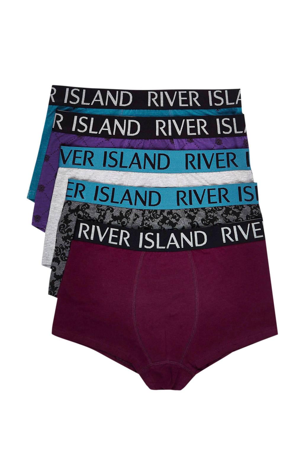 River Island boxershort (set van 5), Blauw/multi