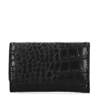 imitatie crocoprint portemonnee zwart