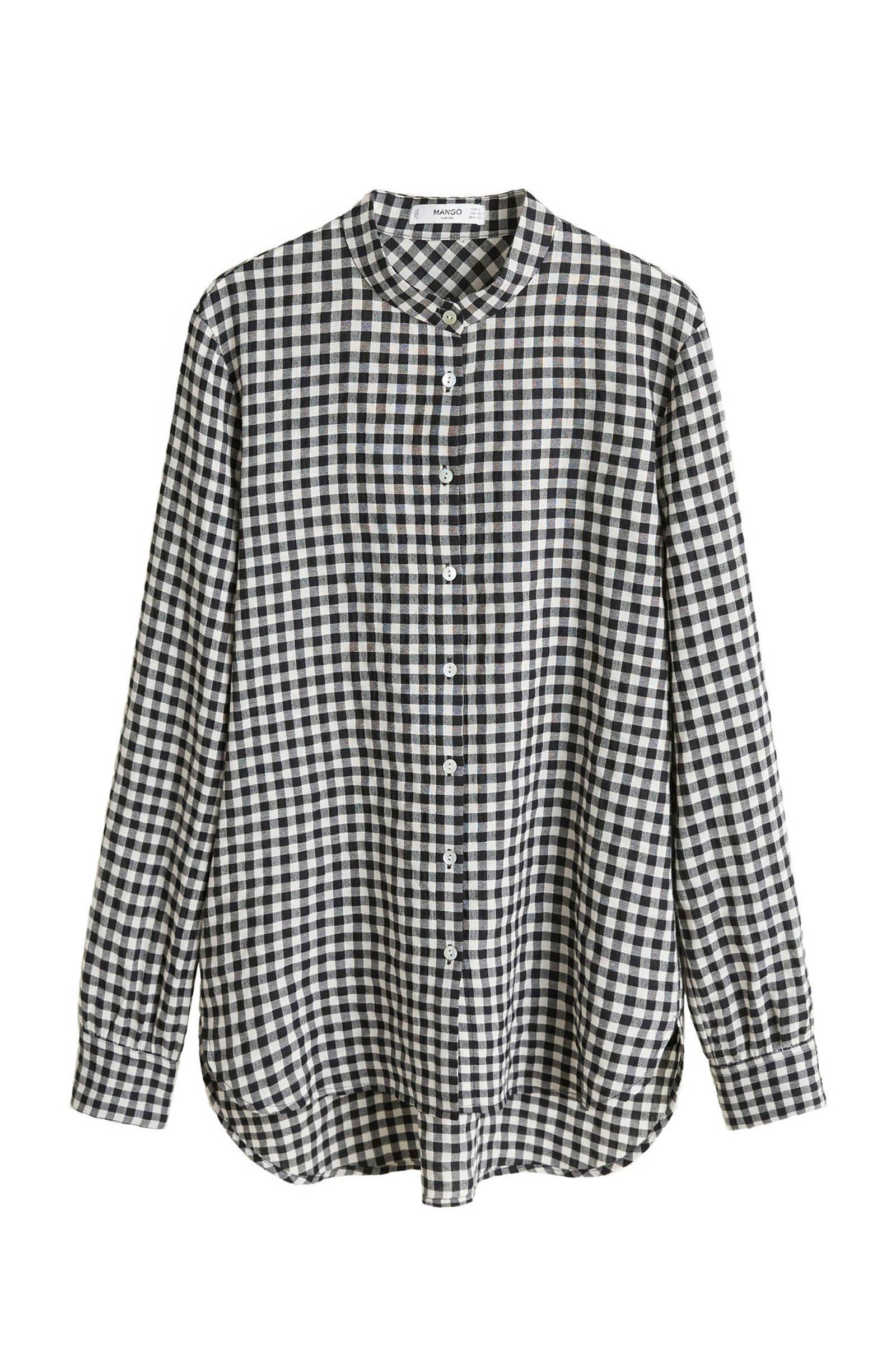 zwart wit geblokte blouse