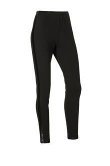 Yessica legging met imitatieleren zijstreep zwart