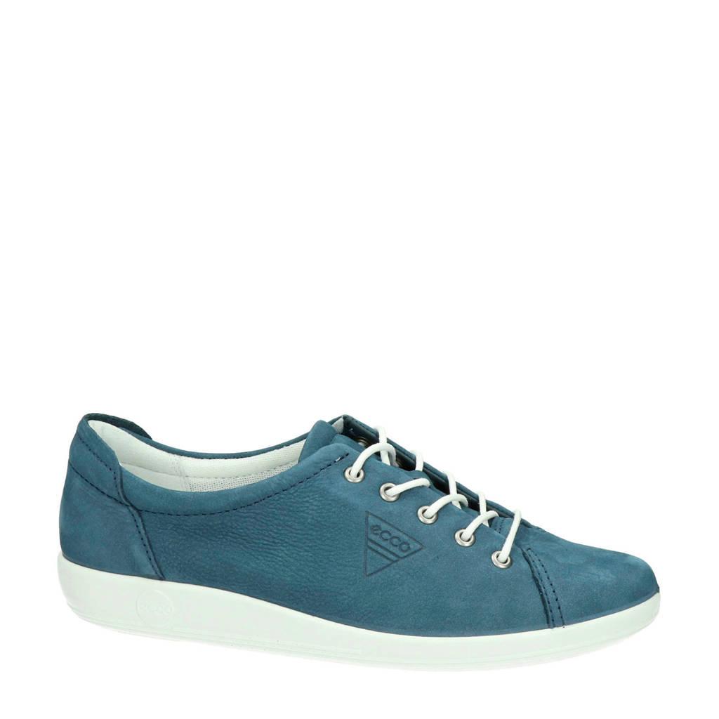 Ecco Soft 2.0 comfort nubuck veterschoenen blauw, Blauw