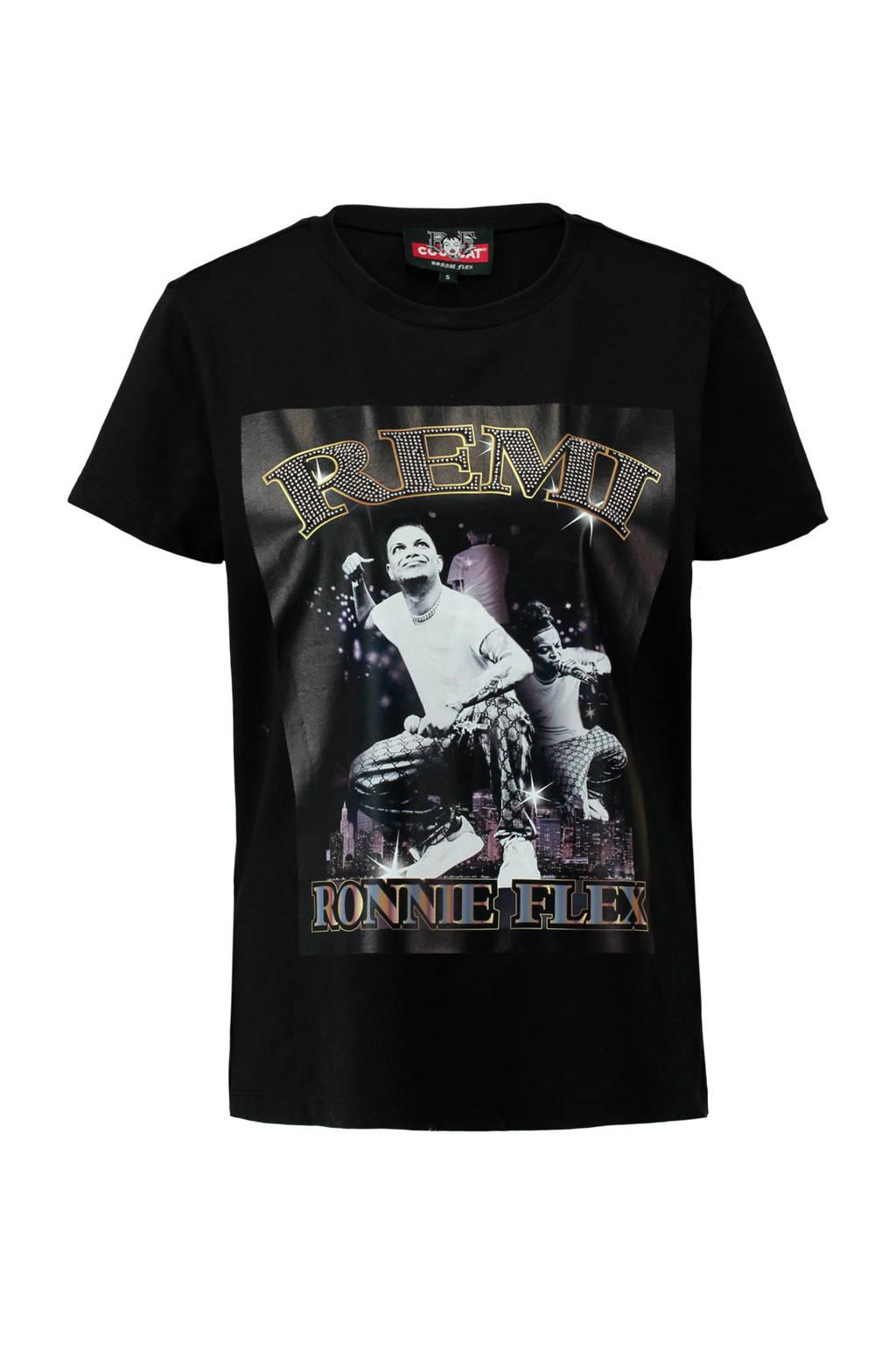 CoolCat T-shirt Ronnie Flex zwart, Zwart