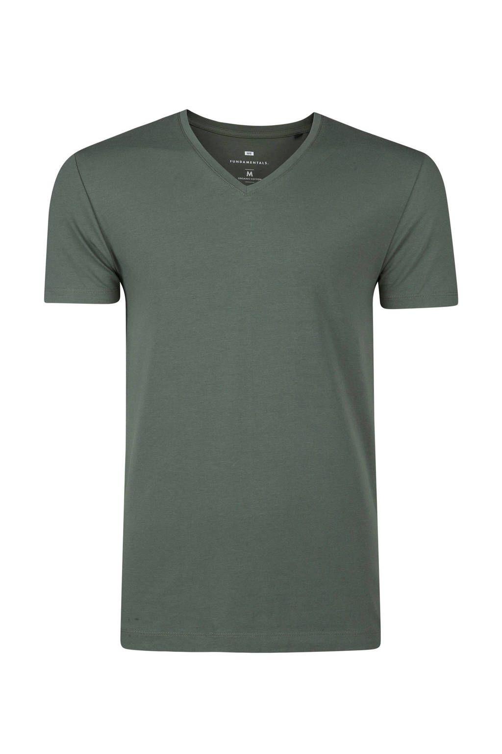 WE Fashion Fundamental slim fit T-shirt, Groen