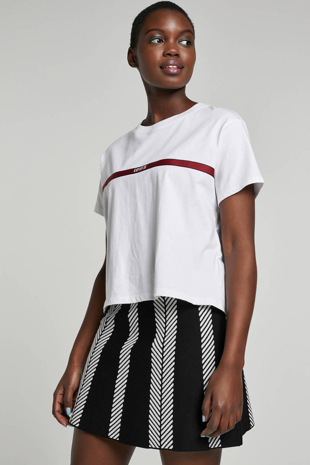 Levi's T-shirt met logo, wit/ rood