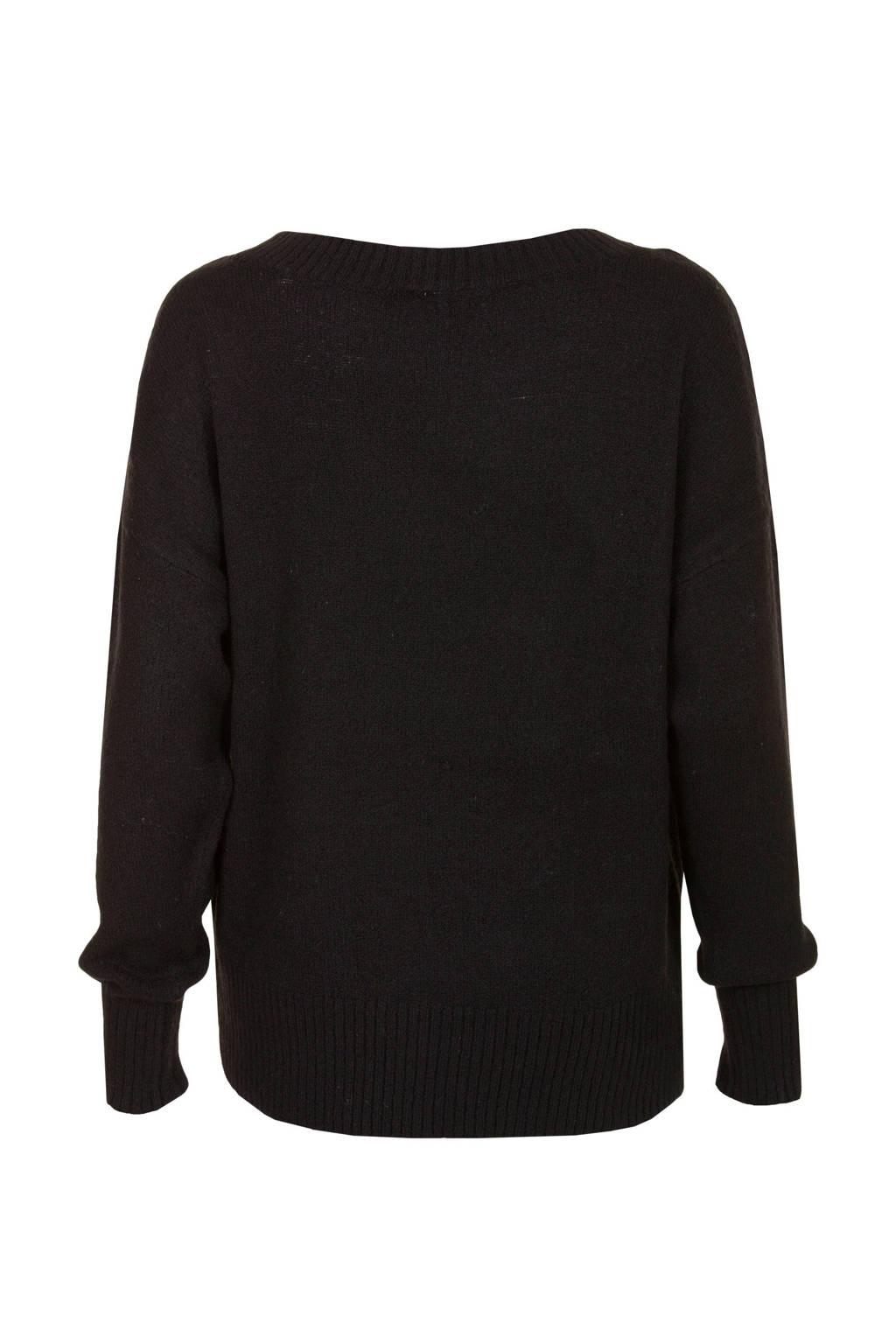 Miss Etam Regulier trui met knoopdetails zwart, Zwart