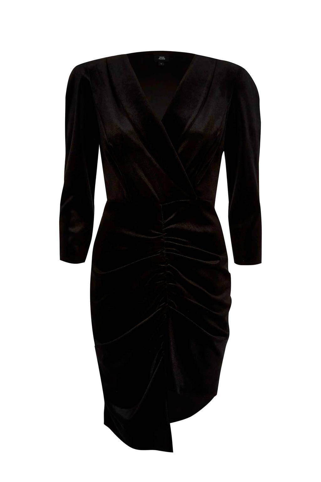 River Island fluwelen jurk, Zwart