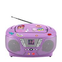 BigBen RTLP005 draagbare radio CD speler met stickers paars, Paars