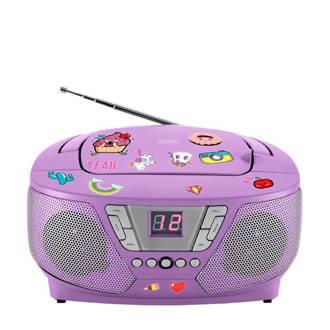 RTLP005 draagbare radio CD speler met stickers paars