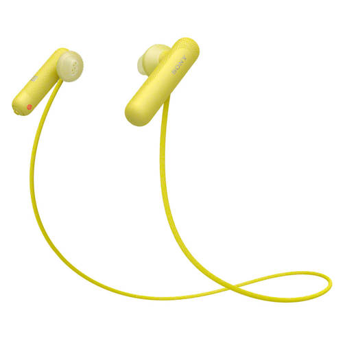 Sony WI-SP500 Sport Koptelefoon In Ear Bluetooth Geel Headset, Nekbeugel, NFC, Bestand tegen zweet
