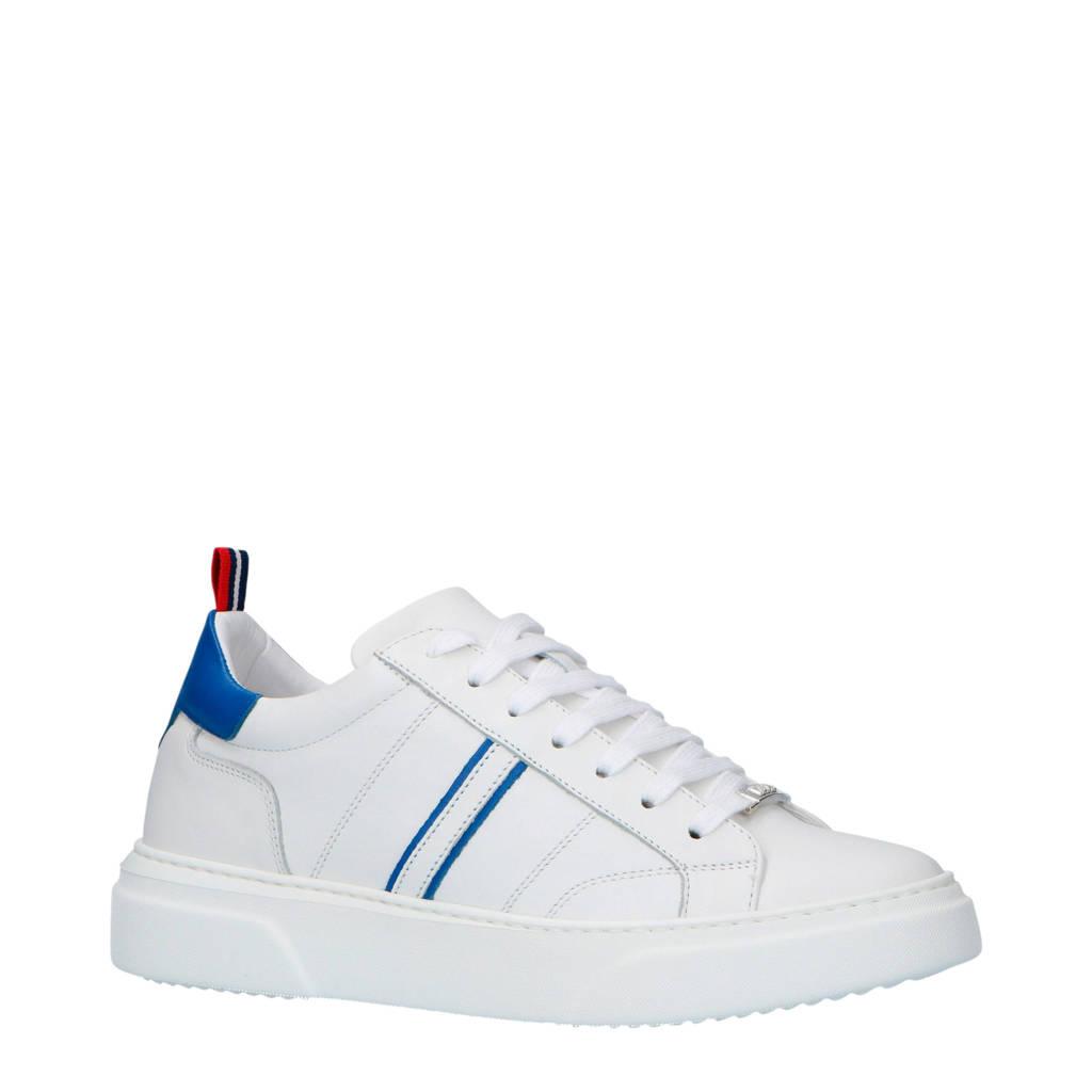 Antony Morato  leren sneakers wit, Wit/blauw