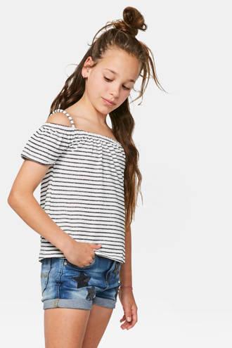 gestreept open shoulder T-shirt met glitters zwart